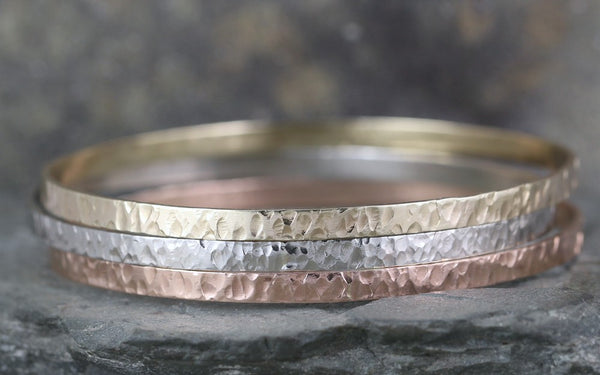 Hammered Bangle Bracelet - Your choice of gold color