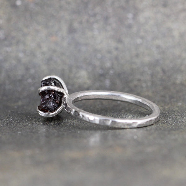 Uncut Raw Garnet Stacking Ring - Rustic Sterling Silver - January Birthstone Ring