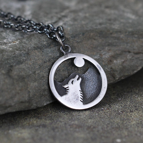 Wolf and Moon Sterling Silver Pendant - Nature Inspired Necklace