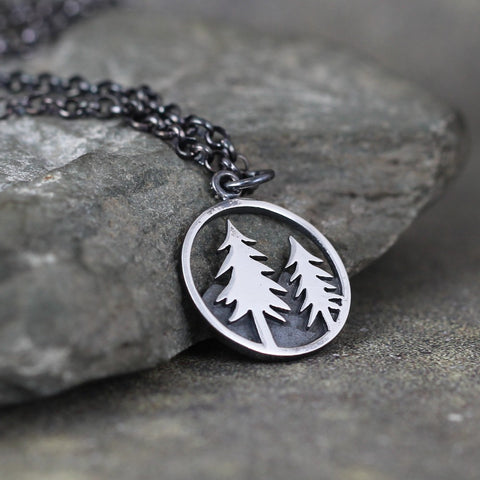 Pine Tree Pendant -  Hiking and Outdoor  - Camping and Nature