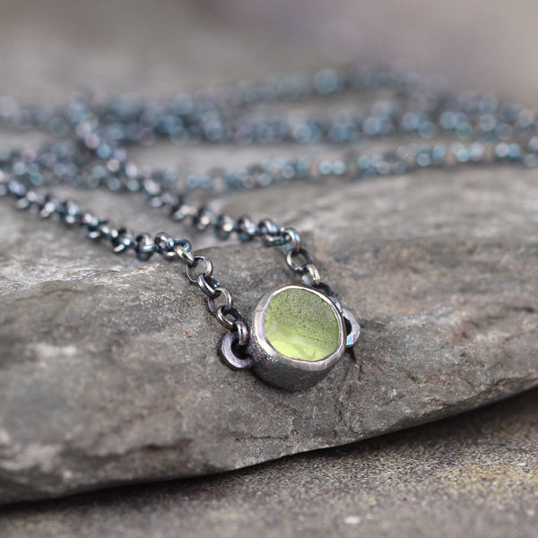 Peridot Boho Necklace - August Birthstone Jewellery - Rustic Gemstone Pendant