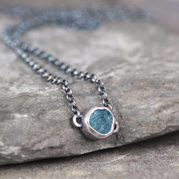 Apatite Necklace - Rough Uncut Apatite Rustic Pendant