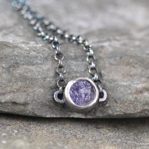 Tanzanite Modern Necklace - Rough Uncut Raw Tanzanite Pendant