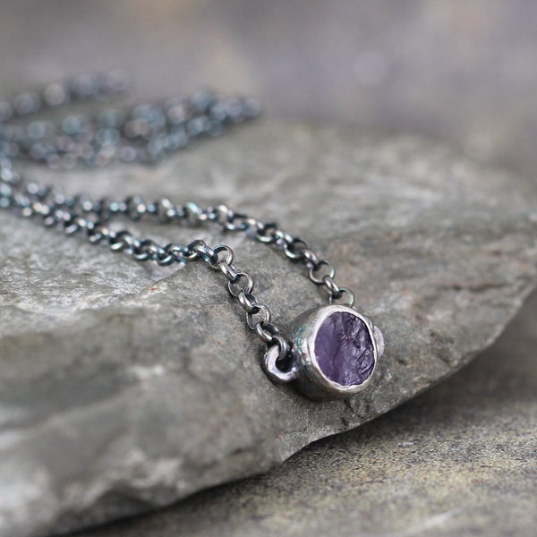 February Birthstone Amethyst Pendant - Raw Uncut Rough Purple Amethyst Necklace