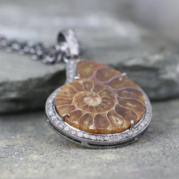 Ammonite and Raw Diamond Pendant - Fossil Jewellery
