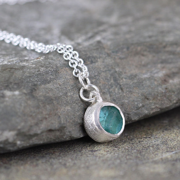 Blue Green Apatite Minimalist Necklace in Sterling Silver