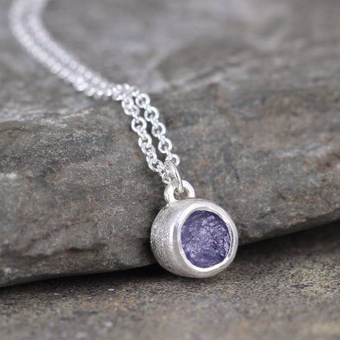 Tanzanite Bezel Set Pendant in Sterling Silver