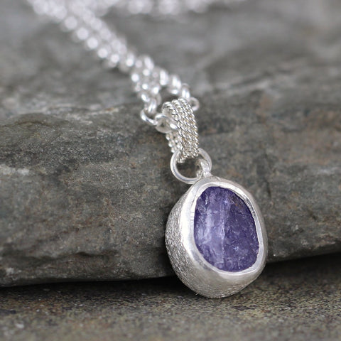 Raw, Rough, Uncut Tanzanite Pendant - December Birthstone Jewellery