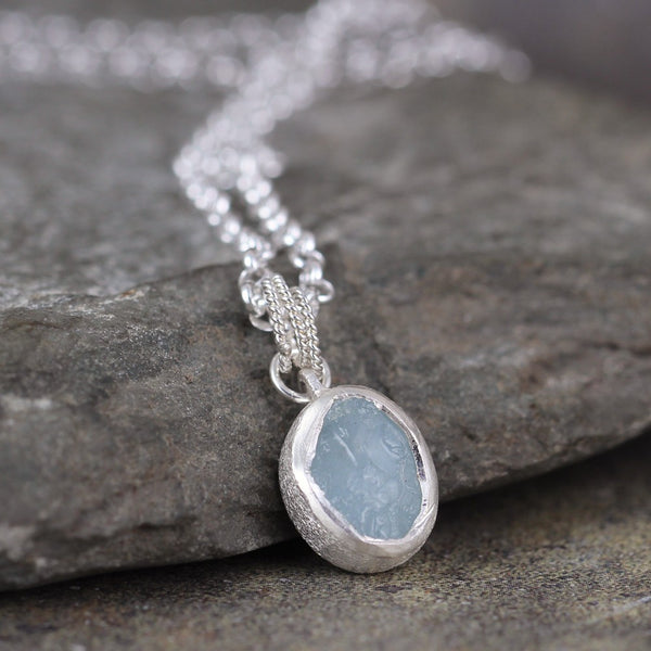 Raw Rough Aquamarine Pendant - March Birthstone