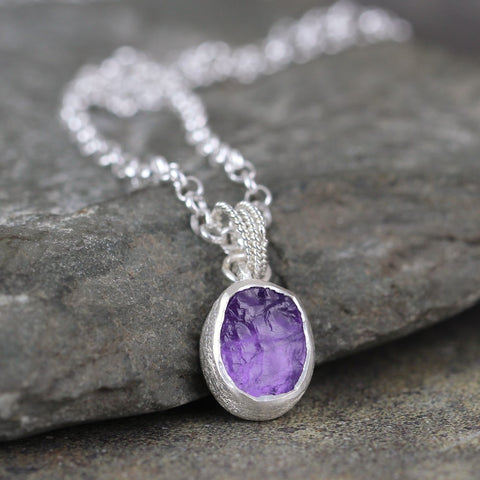 Amethyst Necklace - Raw Rough Uncut Amethyst Gemstone