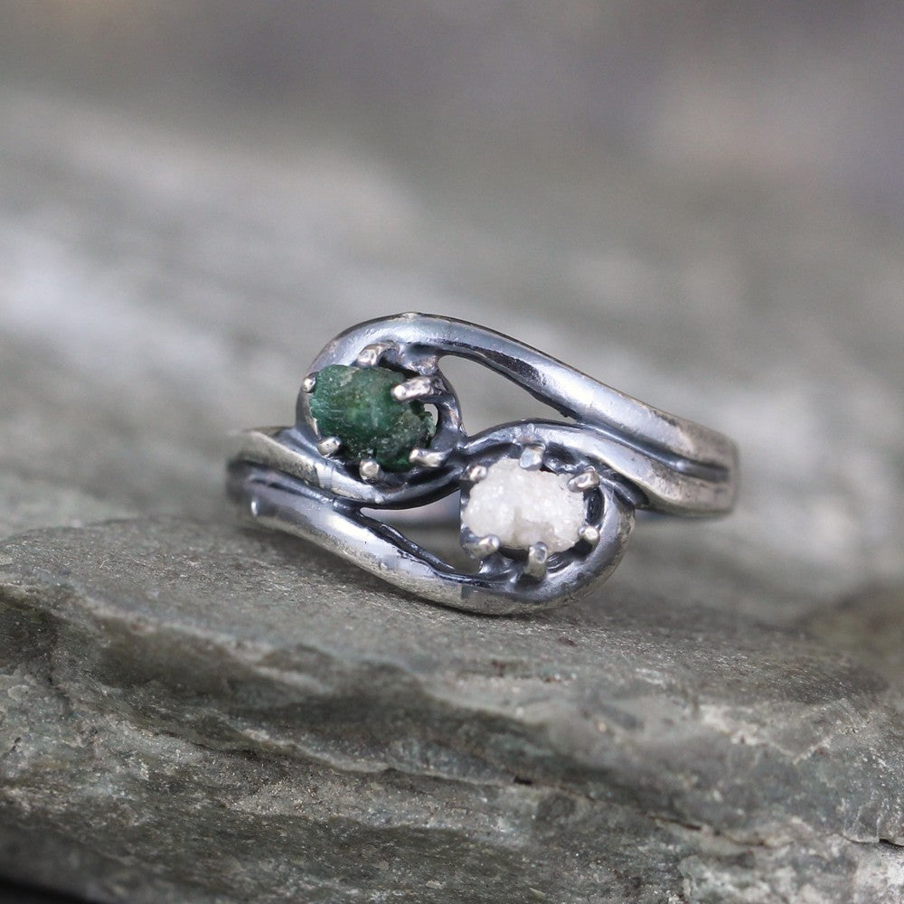 Raw Emerald & Diamond Engagement Ring & Wedding Band