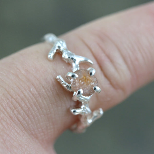 Peach Montana Sapphire Twig Ring - Tree Branch Band - Nature Inspired Rings