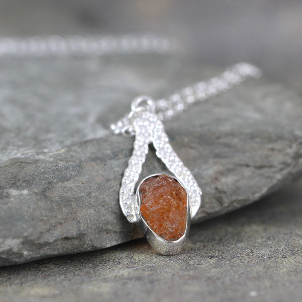 Fire Opal Pendant - Rough Uncut Raw Gemstone - Rustic Jewellery
