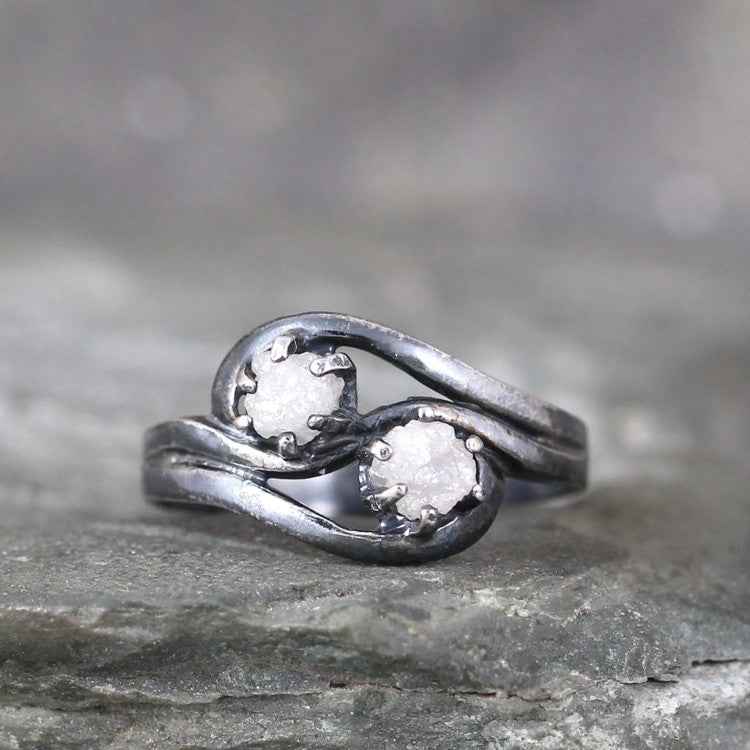Two Stone Raw Diamond Engagement Ring & Wedding Band