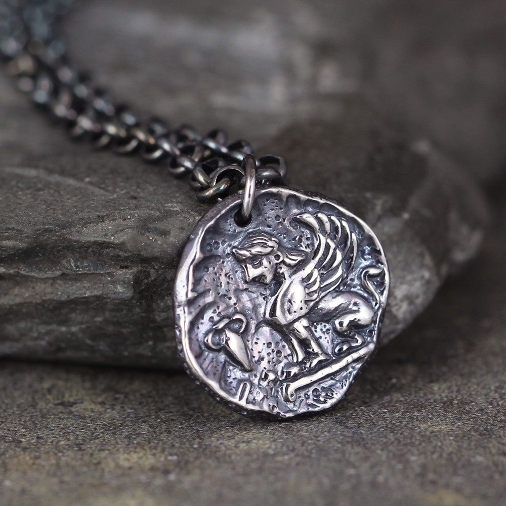 Sphinx Pendant - Mythological Sphinx Coin Necklace - Sterling Silver