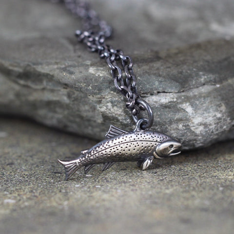 Trout Fish Pendant - Sterling Silver