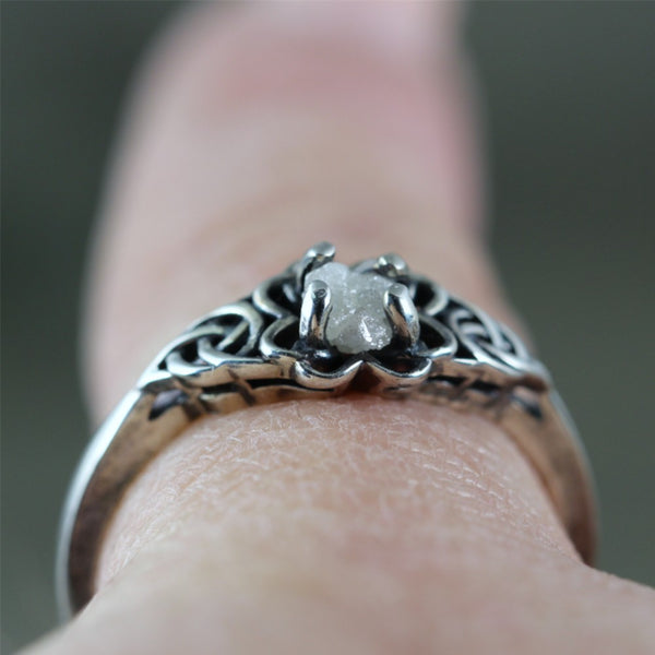 Celtic Knot Raw Uncut Diamond Ring - Rustic - Sterling Silver