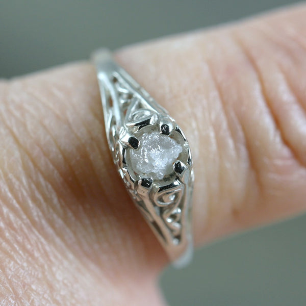 Antique Style 14K White Gold and Raw Diamond Ring - Filigree Style Engagement Ring
