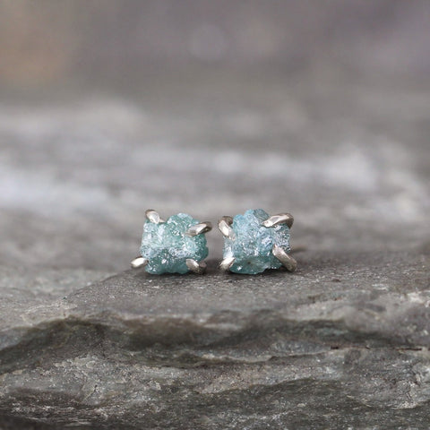 Blue Diamond Earrings - 14K White Gold Handmade Stud Earring - Rough Raw Uncut Diamonds