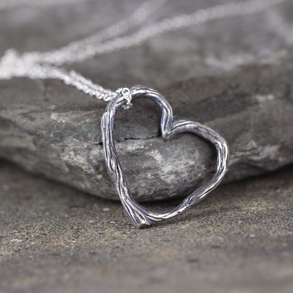Twig Heart Pendant - Floating Heart Necklace - Sterling Silver