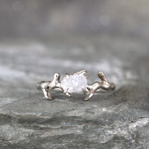 14K White Gold Twig & Branch Design Raw Uncut Diamond Ring