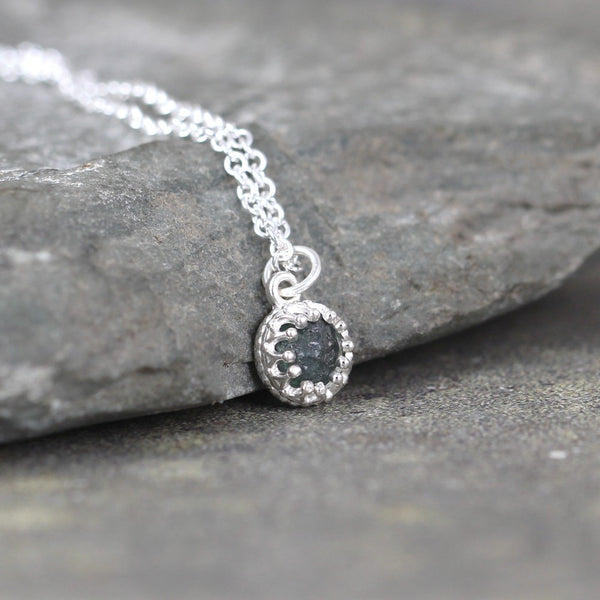 Montana Sapphire Pendant - Sterling Silver Necklace - September Birthstone - Uncut Raw Montana Sapphire
