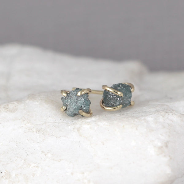 Blue Diamond Earrings - 14K Yellow Gold Handmade Stud Earring - Rough Raw Uncut Diamonds