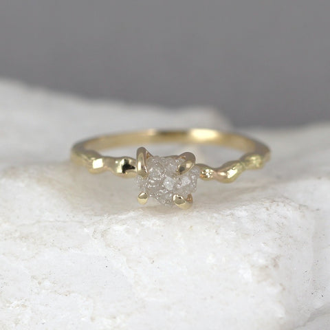 Yellow Gold Raw Diamond Twig Branch Style Ring - 14K Yellow Gold - Uncut Rough Diamond Ring