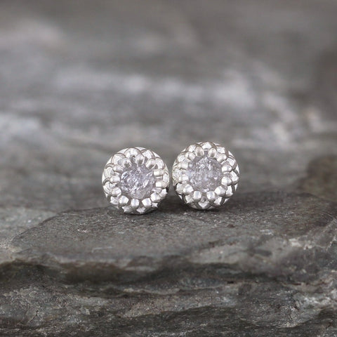 Uncut Diamond Earrings in Sterling Silver Crown Setting