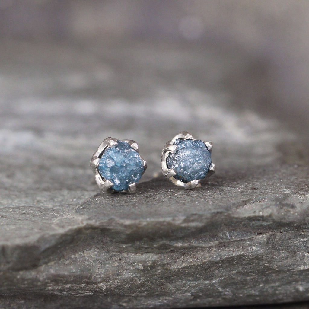 Raw Blue Diamond Earrings - Something Blue - Sterling Silver Vintage Style Stud Earrings Made in Canada