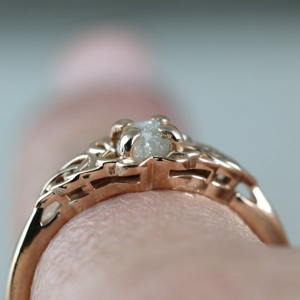 Rose Gold Celtic Knot & Raw Uncut Diamond Ring