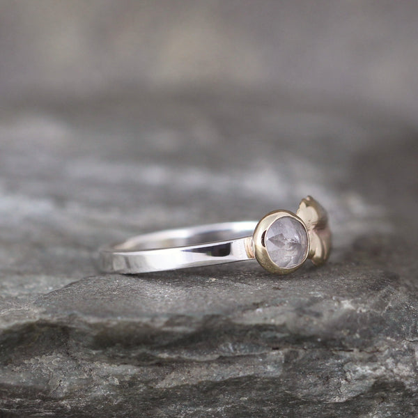 Salt and Pepper Rose Cut Diamond Ring with Leaf Design