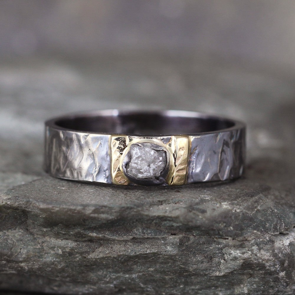 Raw Diamond Ring - Black Sterling Silver and 14K Yellow Gold