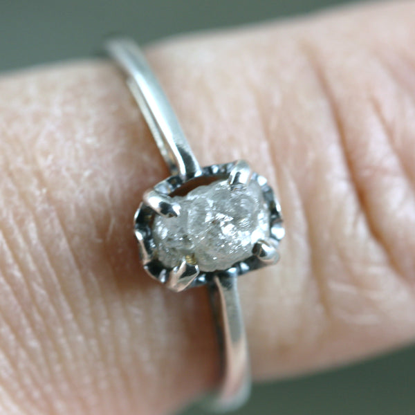 Uncut Diamond Engagement Ring - Vintage Scroll Design - Sterling Silver