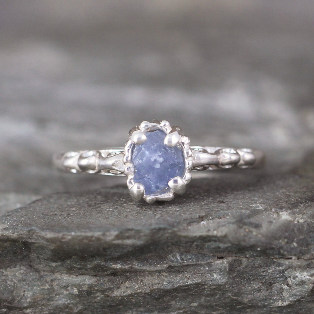 Uncut Blue Sapphire Ring - Antique Filigree Design - Sterling Silver