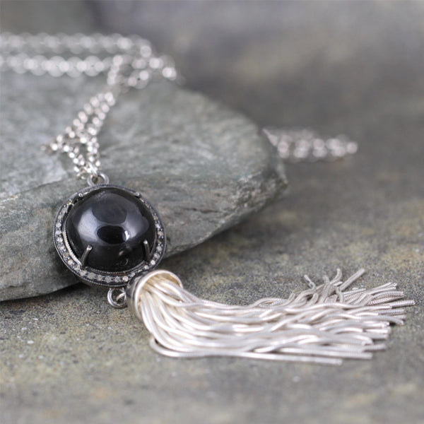 Black Sapphire and Raw Diamond Tassel Necklace - Sterling Silver - Boho Style