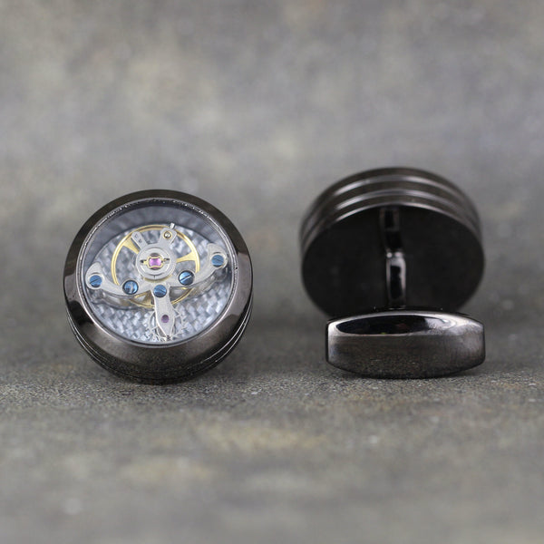 Tourbillion Style Cufflinks - Gunmetal