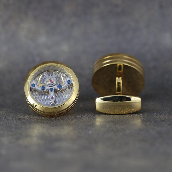 Tourbillion Style Cufflinks - Yellow