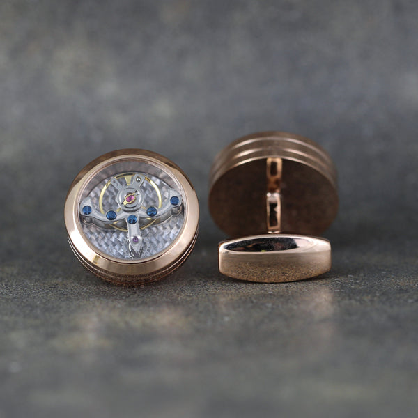 Tourbillion Style Cufflinks - Rose Gold