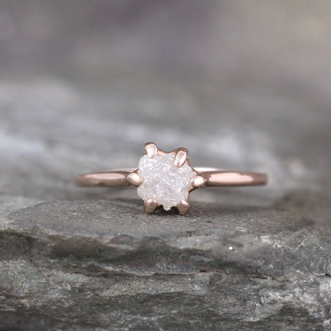 14K Rose Gold Raw Diamond Solitaire Ring - Basket Weave Setting - Unique Rustic Ring