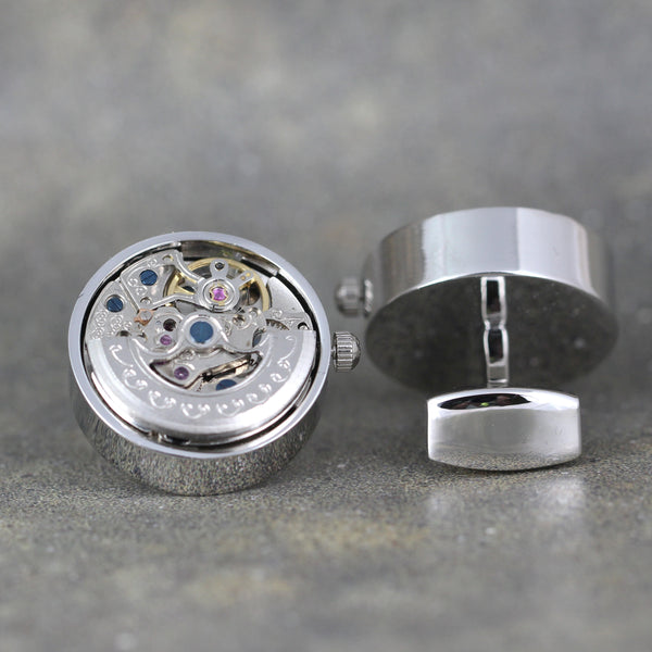 Watch Movement Cufflinks - Silver Tone