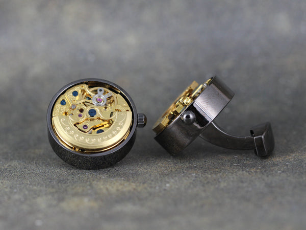 Watch Movement Cufflinks - Gunmetal and Gold Tone