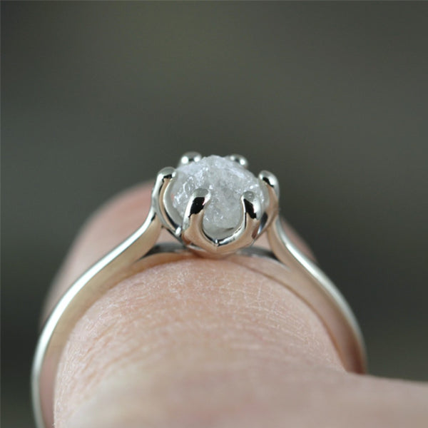 14K White Gold Raw Diamond Solitaire Ring - Basket Weave Setting - Unique Rustic Ring