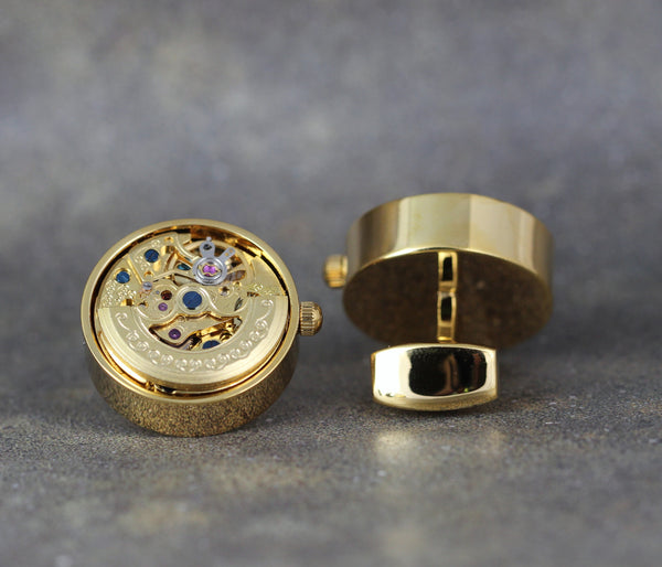 Watch Movement Cufflinks - Gold Tone