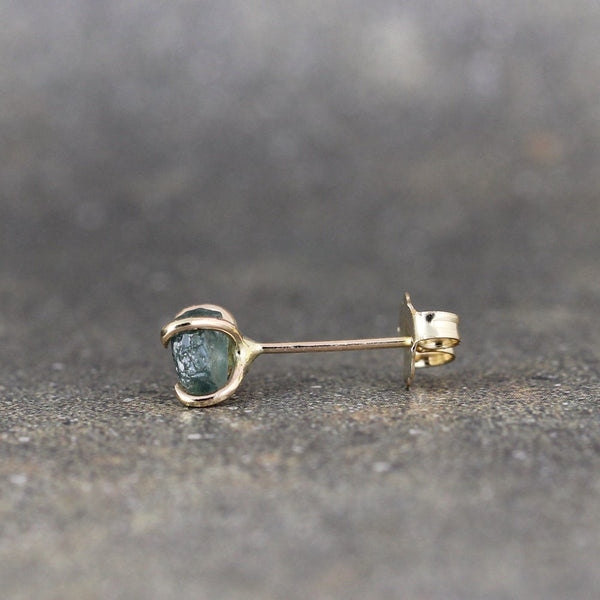 14K Yellow Gold Montana Sapphire Stud Earrings - Handmade - Natural Raw Gemstone