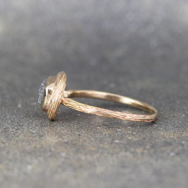 14K Yellow Gold Rough Diamond Woodland Theme Ring