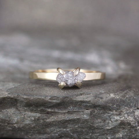 14K Yellow Gold Rough Diamond Ring - Alternative Unique Engagement Ring - Classic Dainty Engagement Ring