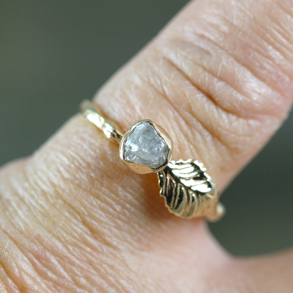 Leaf & Twig Style Ring - 14K Yellow Gold - Uncut Rough Diamond Ring