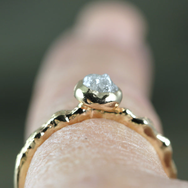 Woodlands Twig Style Uncut Diamond Engagement Ring - 14K Yellow Gold - Uncut Rough Diamond Ring