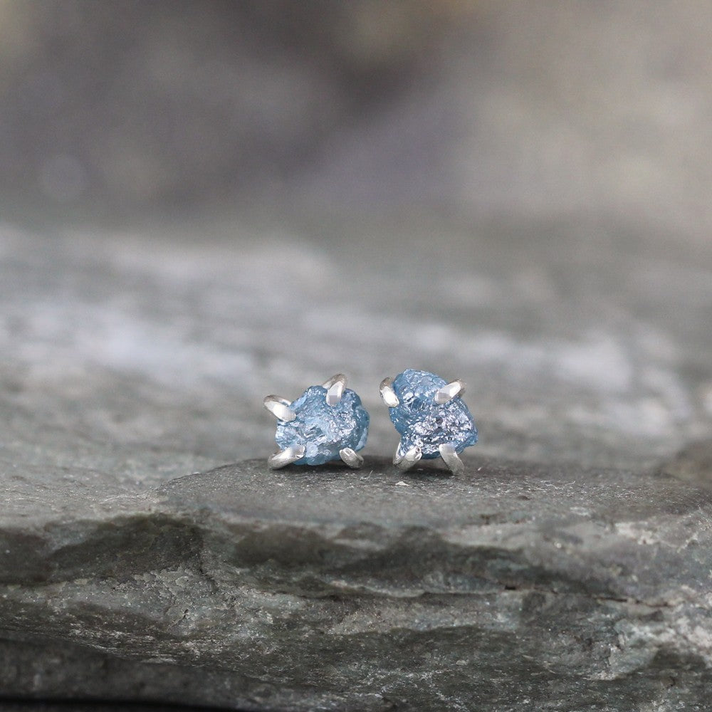 Uncut Blue Diamond Earrings - Sterling Silver Handmade Stud Earring - Rough Raw Uncut Diamonds